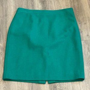 J.Crew Factory Green Wool Pencil Skirt Size 10